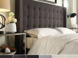 Roma Tufted Wingback Headboard Taupe Fullqueen by Nickel Sputnik Chandelier Over White Tufted Wingback Bed Full