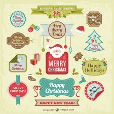 vintage christmas stickers pack vector free download