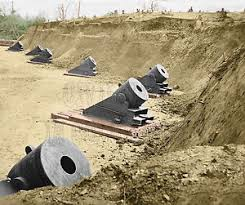 yorktown cannon mortar virginia va color tinted photo civil war