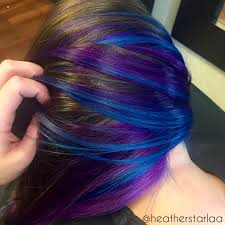short hairstyles with peekaboo purple layer violet underneath with blue highlights purple hair violet hair