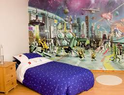 finest beautiful kids theme rooms decorating ideas awesome wall mural ideas for kids bedroom designs with single bed which has blue polka dots