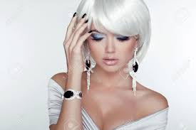 how to make hair white fashion beauty girl woman portrait with white hair jewelry