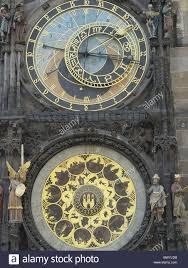 town astronomical clock detail facade figures calendar