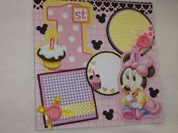 minnie mouse photo album disney baby minnie mouse 1st birthday 12x12 premade scrapbook page