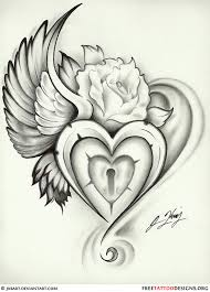 great wing heart lock rose tattoo design awesome tattoo designs
