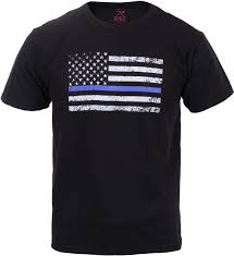 Blue And Black Flag Black Thin Blue Line Usa American Flag Support Police T Shirt