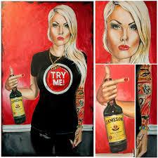 campari art painting with jameson whiskey bar art by deepak tomar