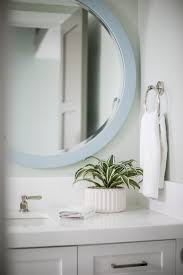 circular mirror powder room design brooke wagner design