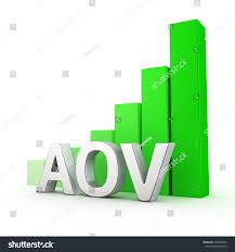 aov growing green bar graph aov on stock illustration 350490482