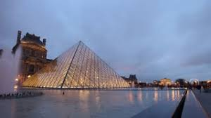 louvre museum at sunset wallpapers cloudy sunset famous paris city louvre museum square panorama 4k