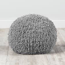 grey bean bag chair shaggy pouf grey the land of nod