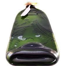 wine bottle cheese plate wine bottle cheese platter fern emerald green handcraft house