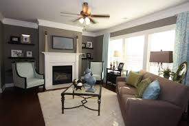 blue brown grey color scheme in the family room cottages at
