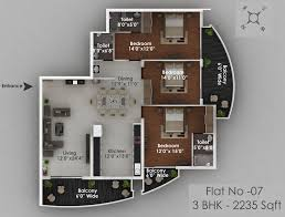 3 Bhk Apartment Floor Plan by Solitaire Luxury Apartments In Hathill Mangalore Landtrades