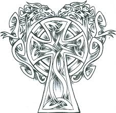 simple celtic dragons cross tattoo design tattoomagz