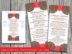 chrysanthemum autumn wedding menu card microsoft word template