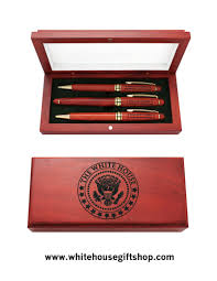 president obama rosewood pen set with presentation case from the