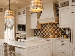 Neutral Kitchen Tile Backsplash Lights Over Island In Kitchen 16 X