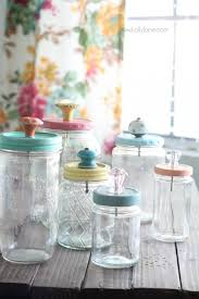 Glass Bathroom Storage Jars Recycled Food Jars Turned Storage Jars With Glass Knob Tops