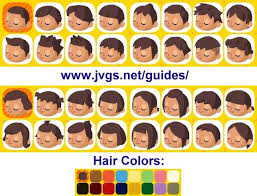 acnl hair guide animal crossing hair color printable coloring image