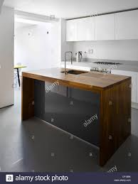 wooden kitchen island in islington house extension paul archer