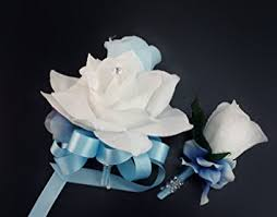 corsage and boutonniere set 2pc set pin corsage and boutonniere baby blue and