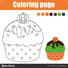 coloring page with halloween cupcake drawing kids activity