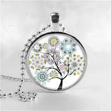 art glass necklace pendant images Trees necklace flowering tree tree pendant tree jewelry tree jpg