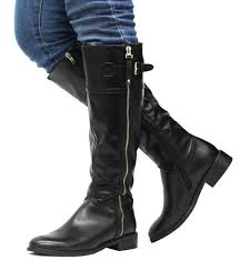buy calf knee high zip up leather style biker