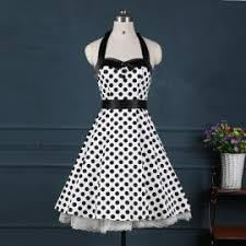 red 50s polka dots button vintage swing party dress