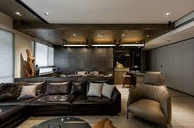 cute masculine living room in home decoration for interior design