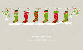 christmas stockings hanging on a festive line royalty free