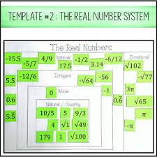 numbers system card sort rational irrational integers whole