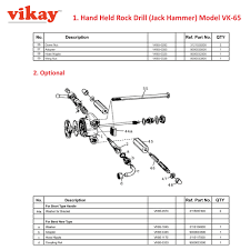 replacement parts for vk 65 rock drill