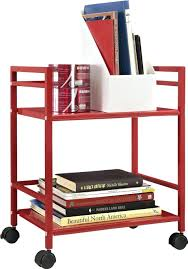 Office Kitchen Design Office Design Red 2 Shelf Metal Rolling Utility Cart Red Finish