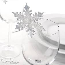 snowflake place name cards for glass christmas winter wedding