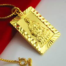 mens gold jewelry necklace images Gold necklace male men 24k gold chain guanyin pendant high jpg