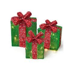 led lighted gift box green set of 3 6 8 10
