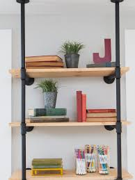maple wood hanging bookcase with black iron pipe frame three tier