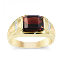 men gold ring men s 14k yellow gold barrel cut garnet ring