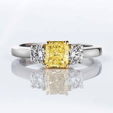 fancy yellow diamond engagement rings fancy yellow diamond ring radiant 0 77 carat si1 naturally