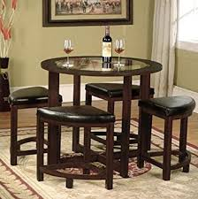 amazon com roundhill furniture cylina solid wood glass top round
