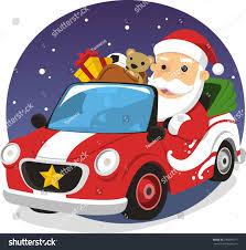santa claus driving sports car delivering stock vector 240604975