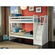 ne kids school house twin over twin stairway bunk bed hayneedle