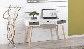 bureau stylé bureau style bord de mer en pin massif blanc avec 3 tiroirs malo