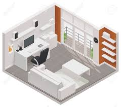 Icon Condo Floor Plan by Isometric Working Room Icon Royalty Free Cliparts Vectors And