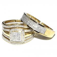 yellow gold wedding bands trio wedding rings set bridal set 3 and mens wide wedding