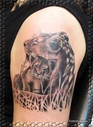 lioness and cub tattoo on shoulder tattooshunter com