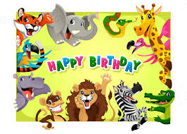 Jungle Birthday Card Happy Birthday Card With Jungle Animals By Ddraw Graphicriver