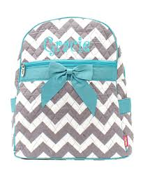 personalized chevron print quilted backpack gray aqua